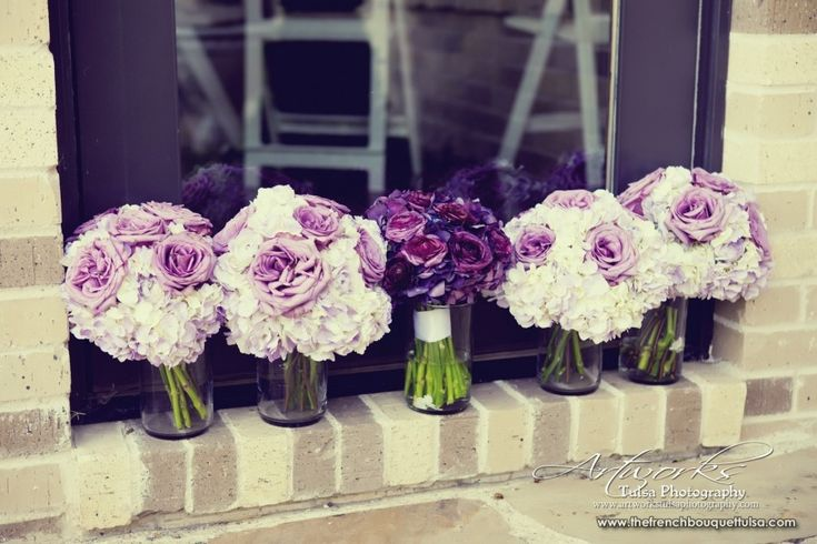 Purple Rose and Hydrangea Bridesmaid Bouquets by The French Bouquet - Artworks Tulsa Photography