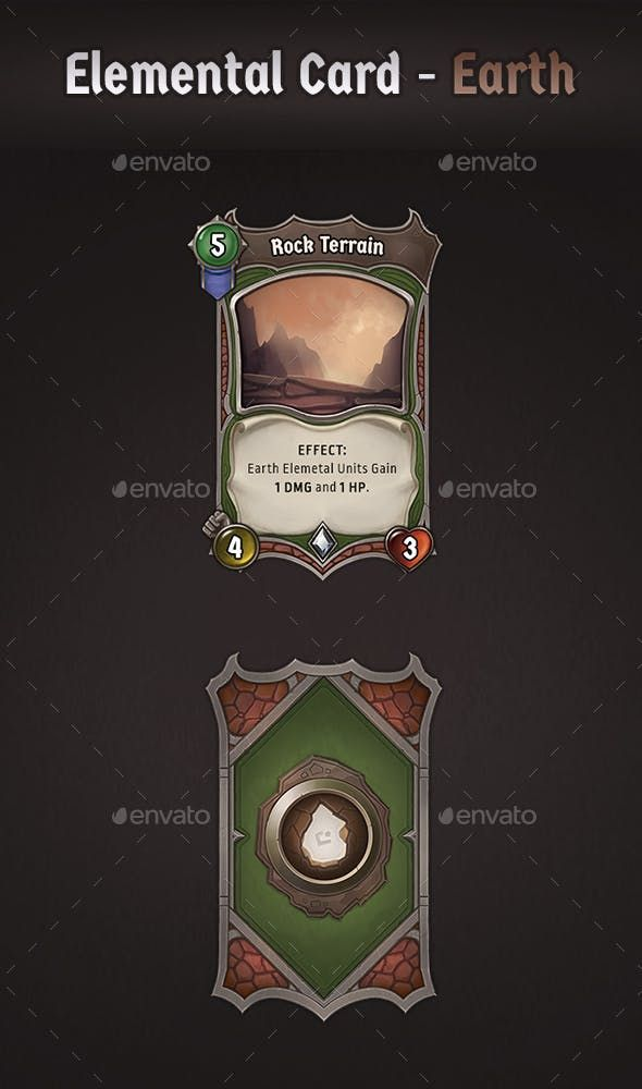 Elemental Card Earth Cards Card Art Free Game Assets