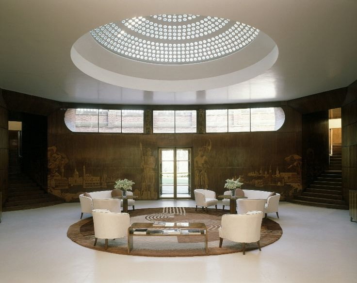 Eltham Palace, entrance hall.  Restored using a photograph from a 1937 copy of Country Life.