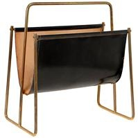 Carl Aubock 1950 leather sling and brass magazine rack