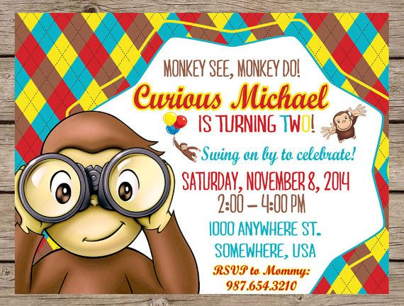 Curious George Birthday Invitation Curious George Monkey Birthday Invite PRINTABLE / PRINTED Monkey Party First Birthday Boy Invite