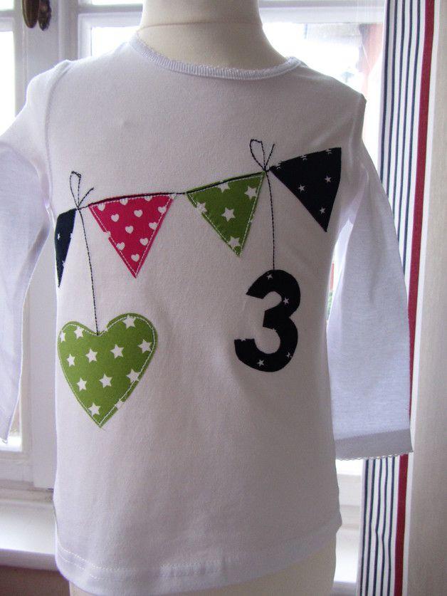 Langarm Kinder Geburtstags T -Shirt mit Zahl