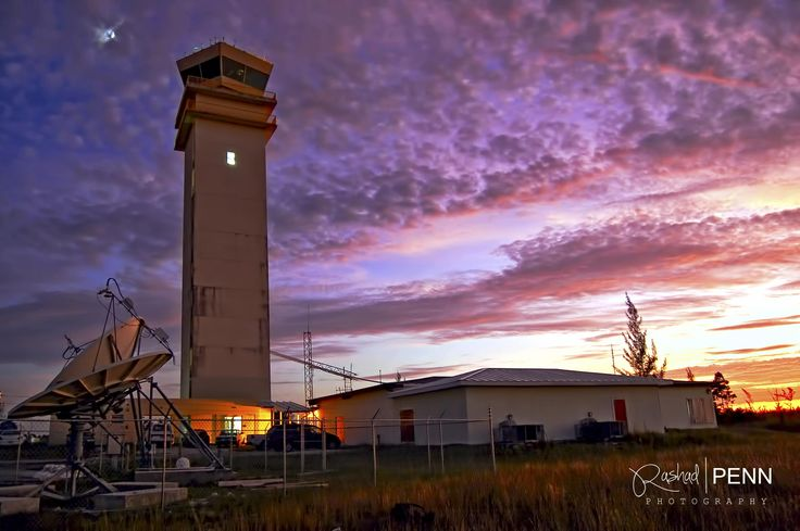 Lynden Pindling Airport Control Tower at sunset