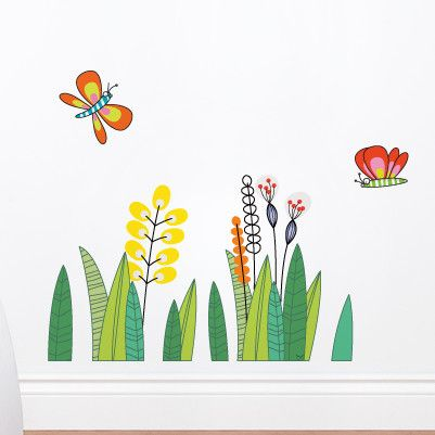 Adzif ludo butterflies in the grass wall decal