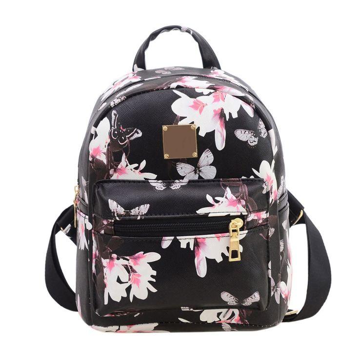 Women's Flower Floral Printing Mini Small Backpack Fashion Ladies Schoolbag for Teenagers Girls Female Backbag rucksack Mochila #Affiliate