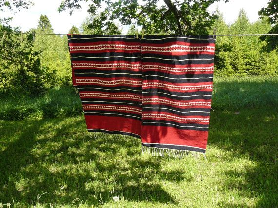Pair of Woolen Armchair Covers Estonian Woolen by AtticSpider