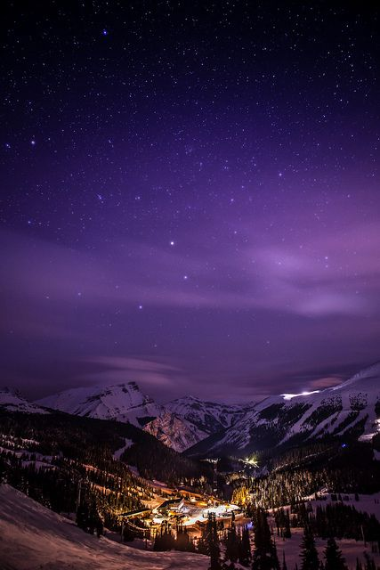Banff Night, Banff National Park in Alberta, Canada: