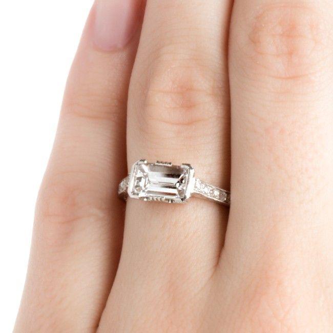 Art Deco Style East West Diamond Wedding Ring   White Oaks from Trumpet & Horn
