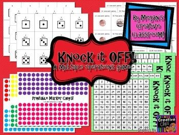 Knock it off is a game that encourages strategy, basic operations and multi-step mathematics! Students work together, or as opponents to knock all the numbers off the 100 chart!Students take turns rolling the dice (adaptable for different manipulatives) and use the numbers rolled to create a number sentence and knock off a number from the chart based on their answer.