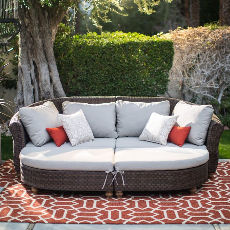Belham Living Polanco Curved Back All Weather Wicker Sofa ... on Outdoor Living Wicker id=49991