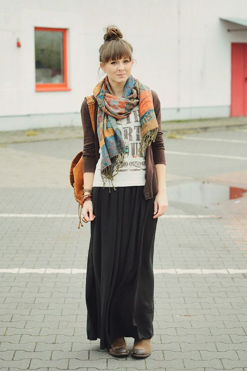 how to style black maxi skirt