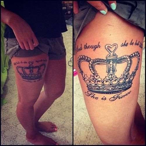 Awesome Crown Thigh Tattoo - Tattoo Shortlist