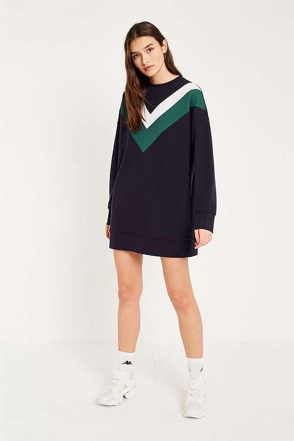 Slide View: 1: UO Chevron Sweatshirt Dress
