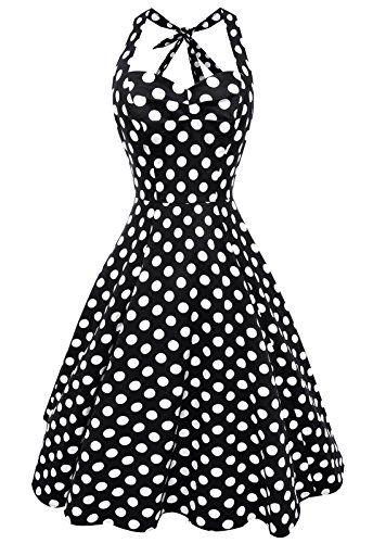 Anni Coco® Women's Halter Polka Dots fifties Classic Swing Tea Attire Multi Coloured