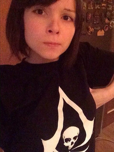 Katya Lischina in Assassin's Creed t-shirt