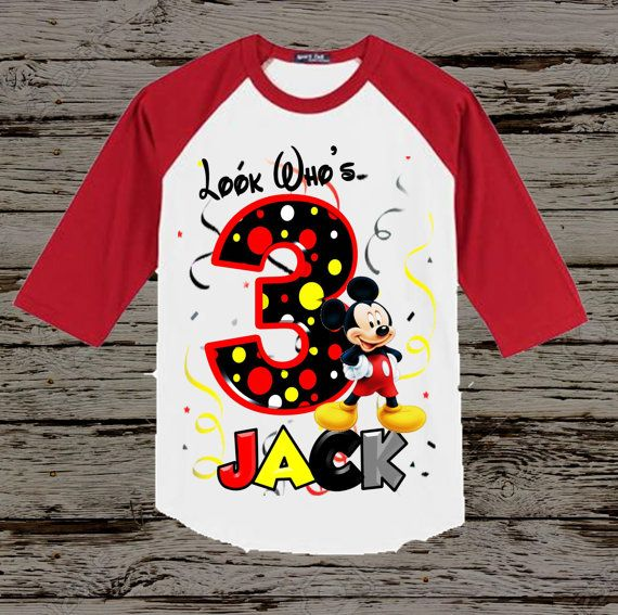 Mickey Mouse Birthday Shirt Red Raglan by BellaFashionDesignz