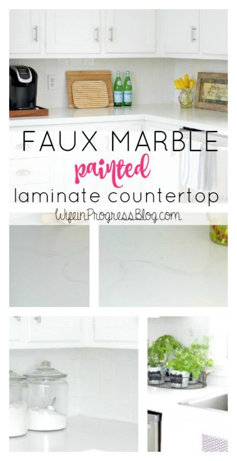Faux Marble Painted Kitchen Countertop To Be Countertop