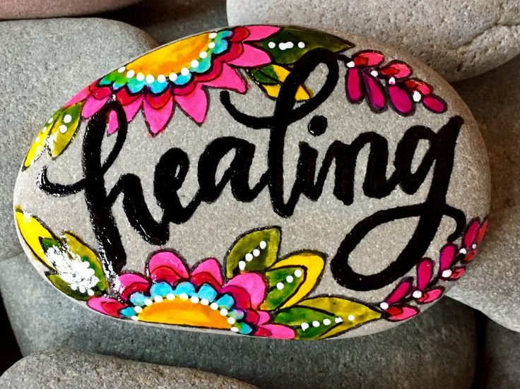 healing energy / painted rocks/ painted stones/ word stones / words on rocks / hand painted rocks / get well gifts / boho flowers / rocks by LoveFromCapeCod on Etsy