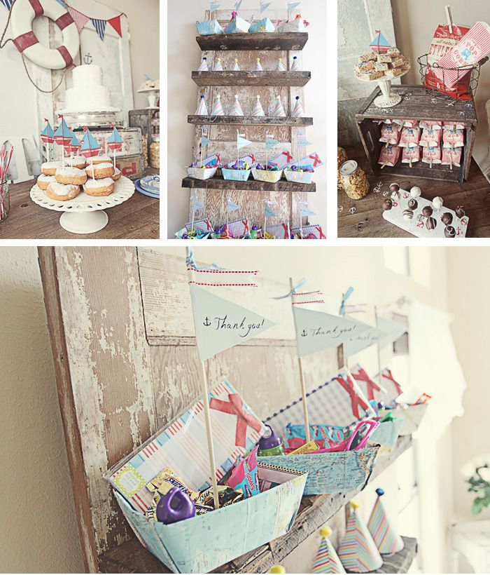 Nautical party - the favor boats are made out of maps!
