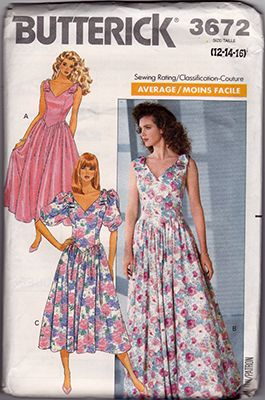 "Butterick 3672; ©1989; Misses'/Misses' Petite Dress: Dress, below mid-calf, tea or evening length, has shoulder bows with knots, self-lined, dropped waist, shaped front bodice with princess seams, flared skirt and back zipper. A, B: sleeveless. C: above elbow sleeves with stiffening at cap and barrel cuffs. Add a photo to the gallery by clicking the ""modify"" button below."