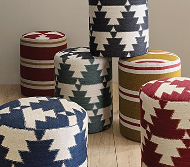 ✈ Native American-inspired stools using the Mohawk collection of fabrics from Osborne and Little. ✈