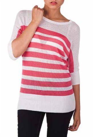 Striped Mesh Pullover