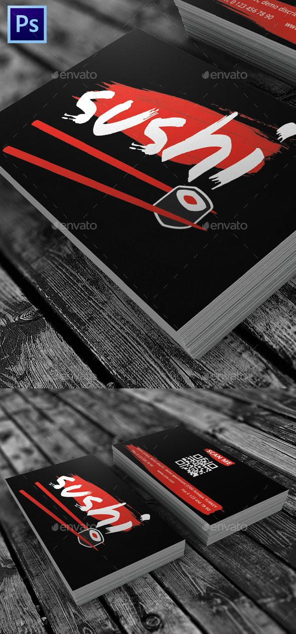 Sushi Restaurant Visit Card — Photoshop PSD #sushi make #sushi atn • Available here → https://graphicriver.net/item/sushi-restaurant-visit-card/9595342?ref=pxcr