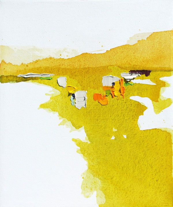 Lauren Adams-watercolor a background (yellow) and use collage to create landscape