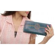 Enjoy the Blues Leather Clutch
