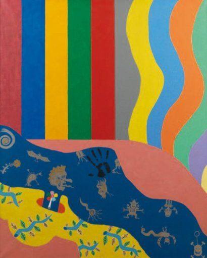 Faire l'amour à Pékin, 1966 Acrylique sur toile Signée, datée et titrée au dos 162 x 130 cm Pierre Pinoncelli découvre la peinture au Musée d'Art Moderne de Mexico au cours de ses pérégrinations en Amérique du Sud dans les années 1950 comme pseudo-aventurier. Rentré en France en 1954, il se jette dans la peinture et fait deux expositions retentissantes à Paris (les « 40 Morts » et les « 30 Métamorphoses », en 1962 et 1963, Galerie Lacloche Place Vendôme) avec une préface de Michel Lagon.