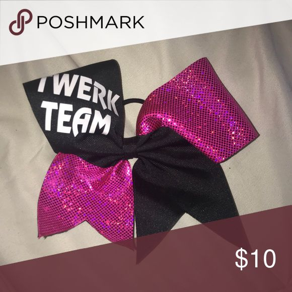 "Twerk Team Cheer bow Black and shiny pink ribbon, white ""Twerk Team"" embellishment. Handmade, never worn. Accessories Hair Accessories"