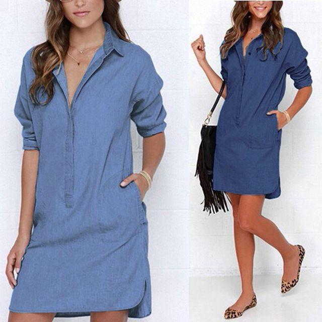 Vestido de mezclilla 2016 ZANZEA Nuevas Mujeres Jeans Vestido Corto Flojo Ocasional Vestidos de Manga Larga de Solapa Sólido Azul Camisa Mini Vestido de festa