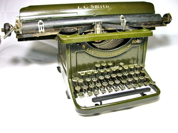1934 Antique L.C. SMITH and CORONA 8 - 20 Secretarial Typewriter - Olive Green