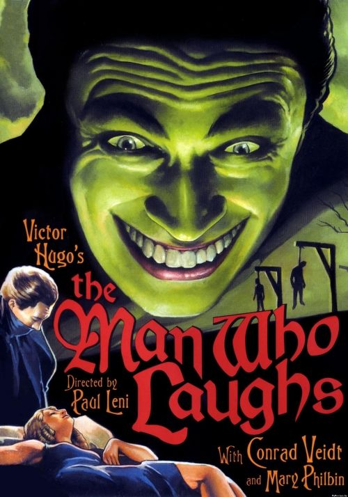 The Man Who Laughs (1928)  dir. by Paul Leni...Jerry Robinson  used Gwyneplaine's  physique and grotesque grin  as the inspiration for Batman villain The Joker.