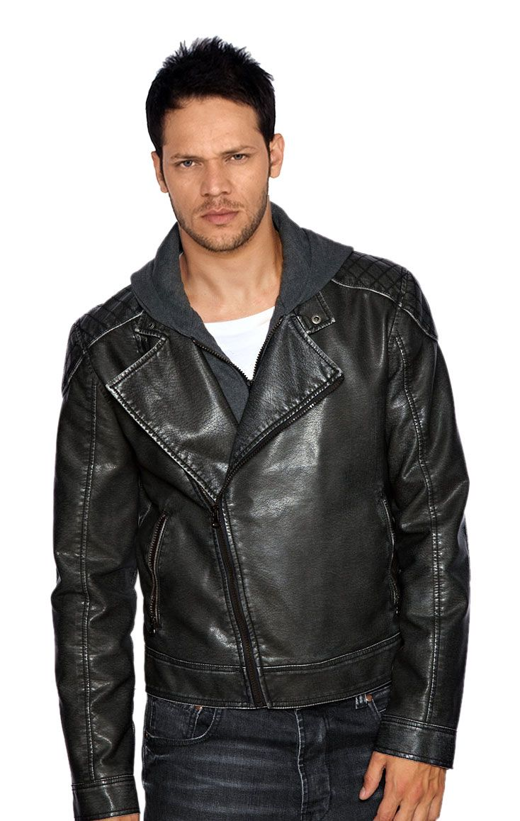Asymmetric Leather Biker Jacket For Men Leather jeans