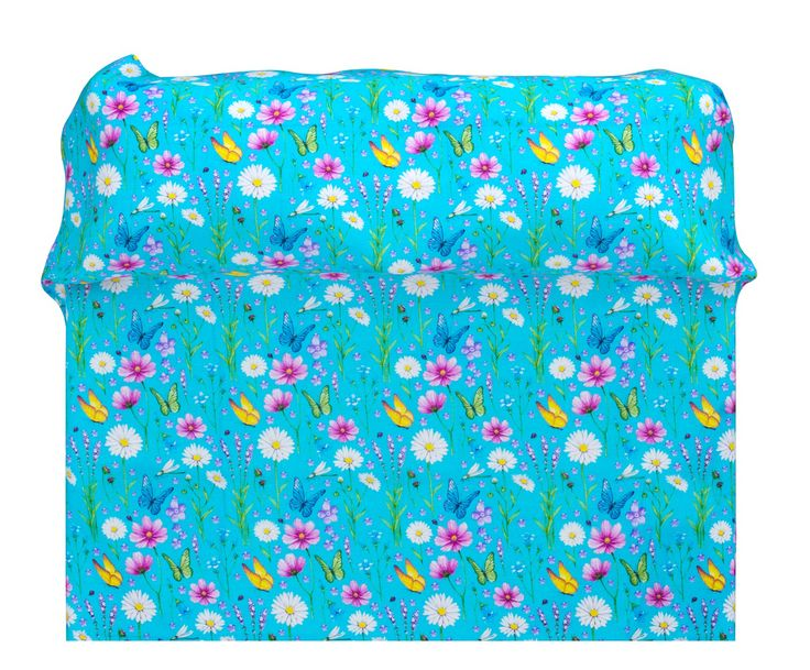 Copriletto matr. in cotone piquet Fiori turchese - 260x270 cm | Dalani Home & Living