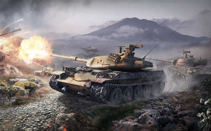 Download wallpapers World of tanks, online game, tanks, wot, stb-1, type 61, sta-1, e 75, Japanese tanks, World War II