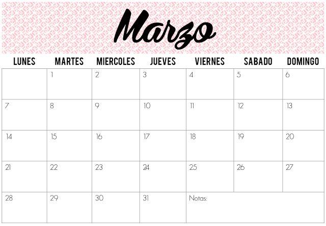 Calendarios de Marzo 2016 | Imprimibles