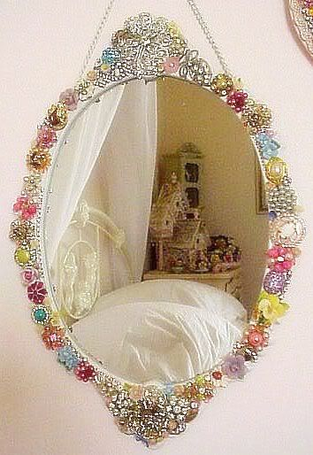 decorative wall mirror jeweled mirror frame embellished with vintage jewelry sold - Decorate Mirror Frame