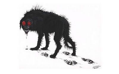 The Black Dog is a malevolent spirit that appears as a huge coal-black dog, with eyes that glow red in the darkness of the night. It is a harbinger of death, as those who are unfortunate enough to see the creature usually meet misfortune or death soon after.  The Black Dog is known throughout Europe, and is known by a great many names.
