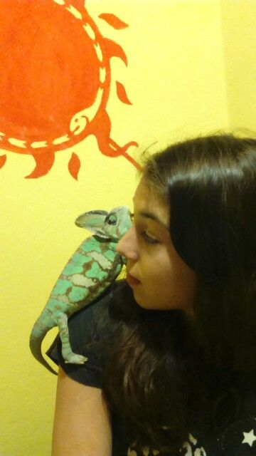 Me with my chameleon