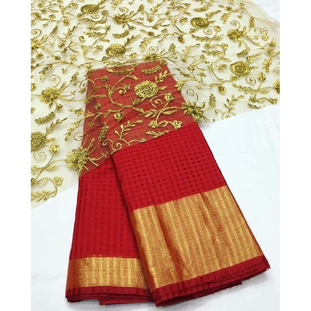 """""""Red kota banarasi saree with gold embroidery blouse pievce To purchase mail us at houseof2@live.com or whatsapp us on +919833411702 for further detail #sari #saree #sarees #sareeday #sareelove #sequin #silver #traditional #ThePhotoDiary #traditionalwear #india #indian #instagood #indianwear #indooutfits #lacenet #fashion #fashion #fashionblogger #print #houseof2 #indianbride #indianwedding #indianfashion #bride #indianfashionblogger #indianstyle #indianfashion"""" Photo taken by @house_of_2 on…"""