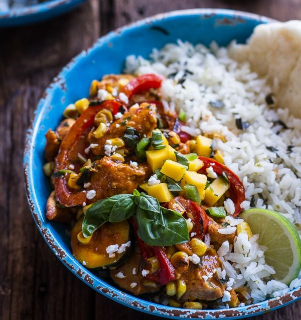 Basil chicken curry with coconut, ginger & lime rice