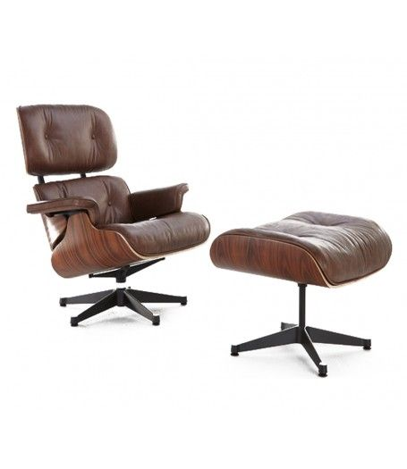 Eames Style Lounge Chair and Ottoman - Rosewood & Brown Leather