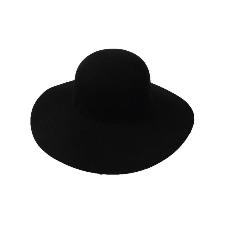 Untrimmed Black Floppy Hat by Scala