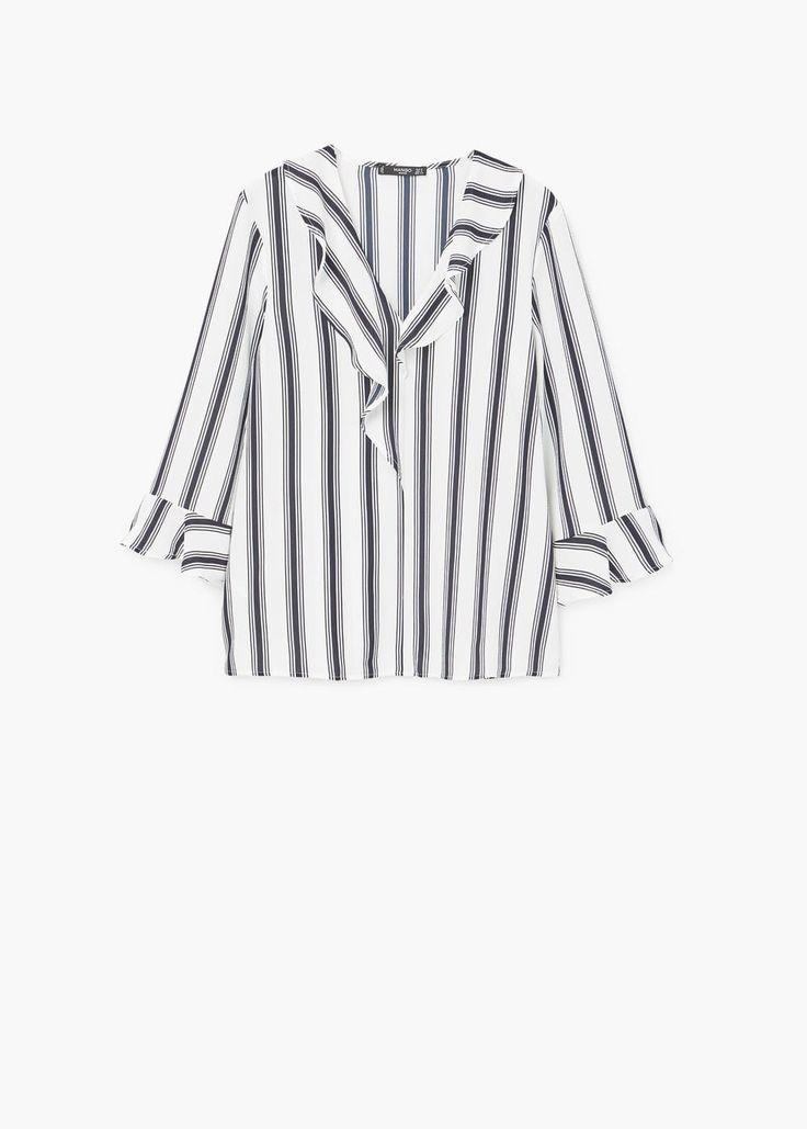 Ruffle neckline blouse