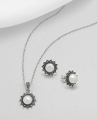 Set din argint: cercei si pandantiv cu marcasite si perle de cultura 15-1-i53266 | SilverZone.ro