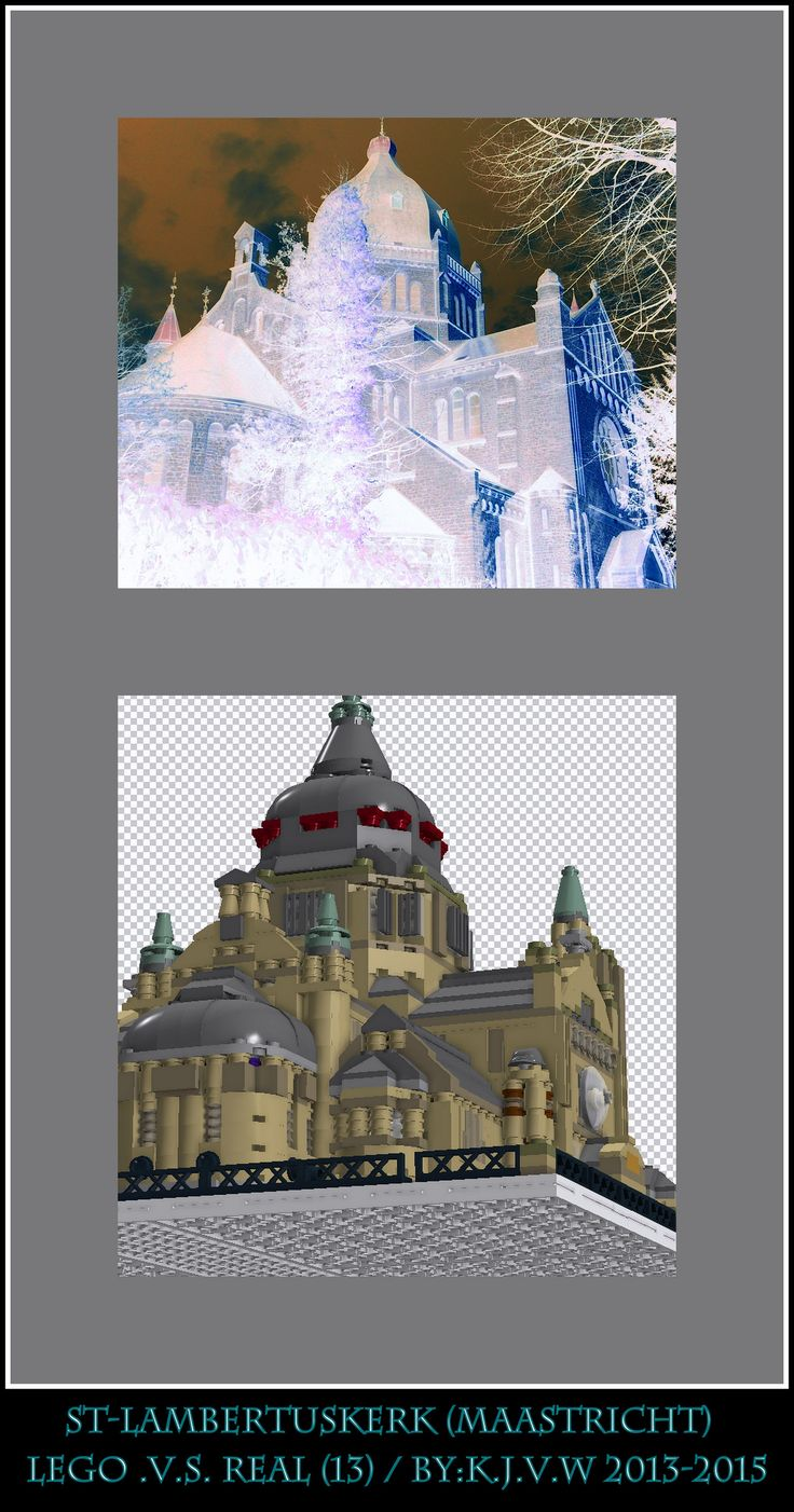 [ st-lambertuskerk  lego .v.s. real part 13 ]   13 of the 19 photo's from my collage of St-Lambertuskerk (Maastricht) ((Non-lego))