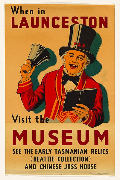 When in Launceston. Visit the Museum c.1937 stencil screenprint, printed in colour, from multiple stencils, NGA, unknown artist.