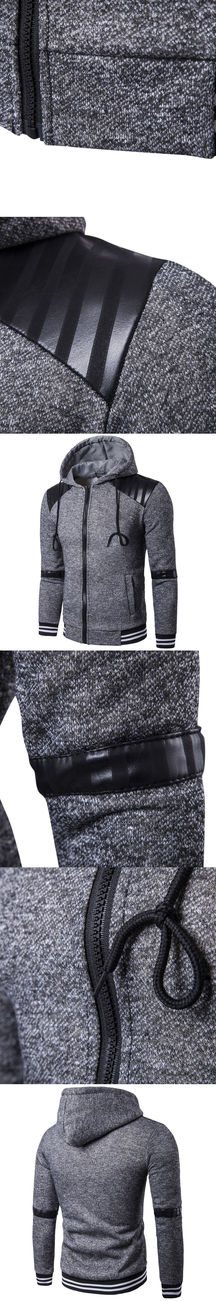 2017 Autumn Winter Hoodies Men Zipper Slim Fit Hoodie PU Patchwork Fleece Cardigan Jacket Hip Hop Mens Hooded Sweatshirt Sudader